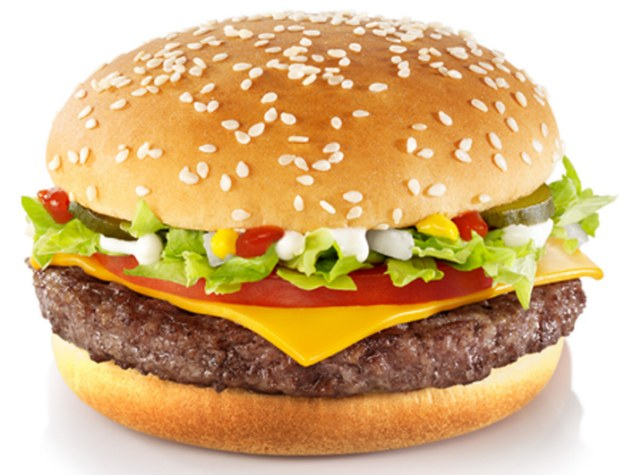 McFeasting: When dining at McDonald's swap the Quarter Pounder Deluxe, pictured, for a Chicken Legend with tomato salsa