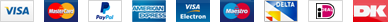 Visa, Mastercard, PayPal, American Express, Electron, Switch/Maestro, Delta, iDEAL, Dankort