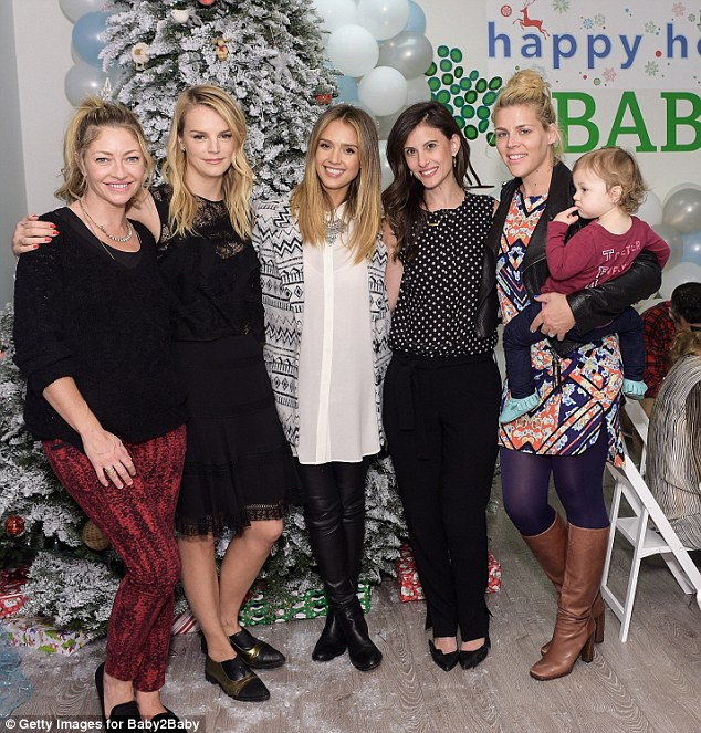 Group photo: Busy posed for a happy snap with Norah Weinstein, Jessica Alba, Kelly Sawyer and Rebecca Gayheart