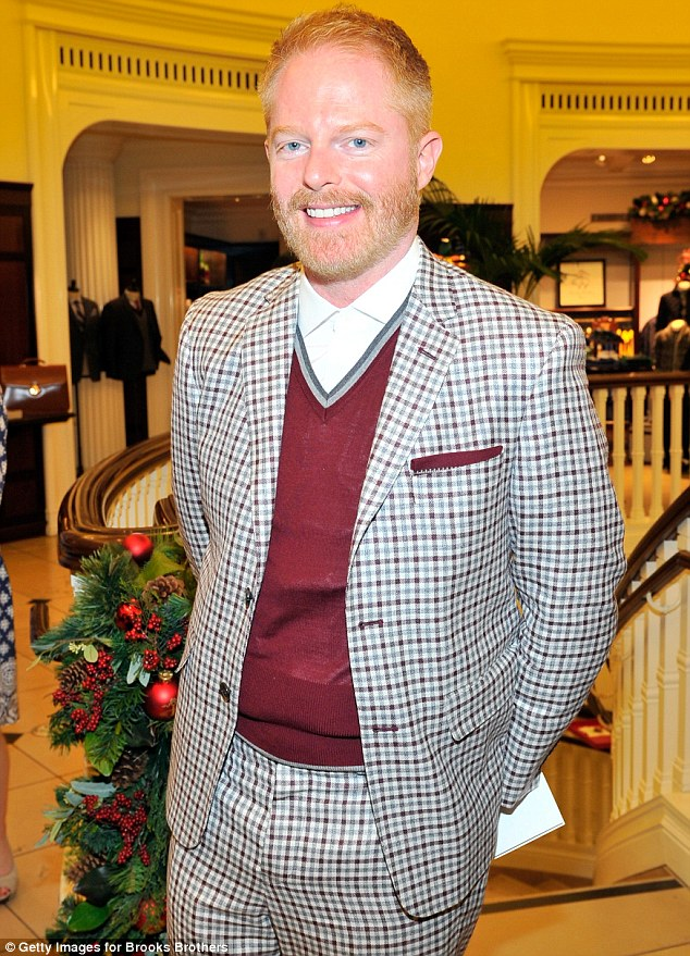 A reason to smile: Modern Family's Jesse Tyler Ferguson seemed so happy on this night after his show garnered four SAG Awards nominations