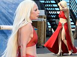 Hollywood, CA - Lady Gaga rocks a revealing red dress in the sweltering heat as she films scenes for ÎAmerican Horror Story: HotelÌ. The pop star-turned-actress plays the role of Countess Elizabeth, the owner of the hotel in upcoming Season 5. AKM-GSI        September 10, 2015 To License These Photos, Please Contact : Steve Ginsburg (310) 505-8447 (323) 423-9397 steve@akmgsi.com sales@akmgsi.com or Maria Buda (917) 242-1505 mbuda@akmgsi.com ginsburgspalyinc@gmail.com