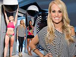 Carrie Underwood, center, attends the fashion presentation for her CALIA fitness and lifestyle line during York Fashion Week on Thursday, Sept. 10, 2015 in New York. (Photo by Charles Sykes/Invision/AP)