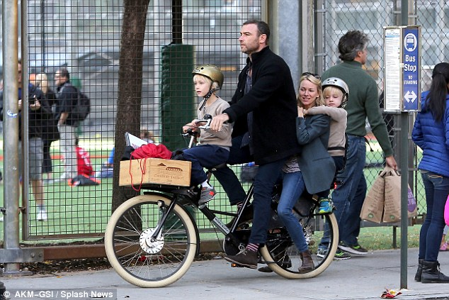 Happy families: Naomi and her partner Liev Schreiber, 47, are regularly seen out and about in New York and Los Angeles with their two boys Alexander and Samuel