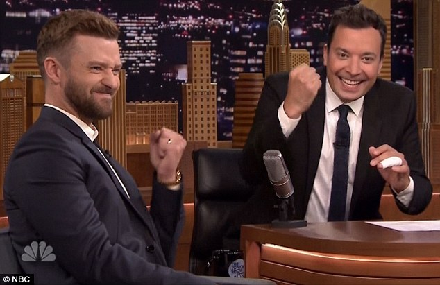 The daddy union: Justin revealed he coached his son using Jimmy's book Your Baby's First Word Will Be Dada