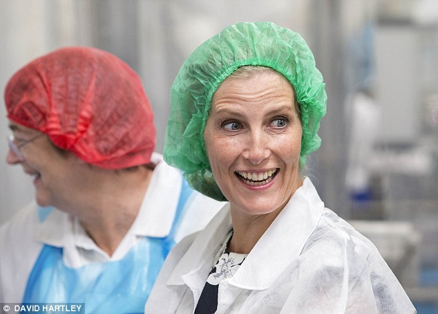 The Countess of Wessex was sporting a rather comical ensemble as she visited a bakery in Wiltshire today