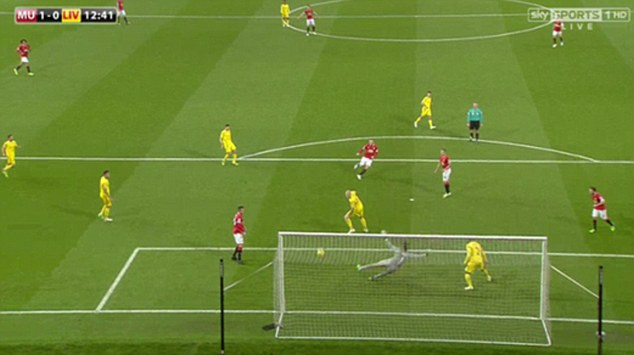Coutinho (third right) watches on as United's skipper fires in the opening goal at Old Trafford