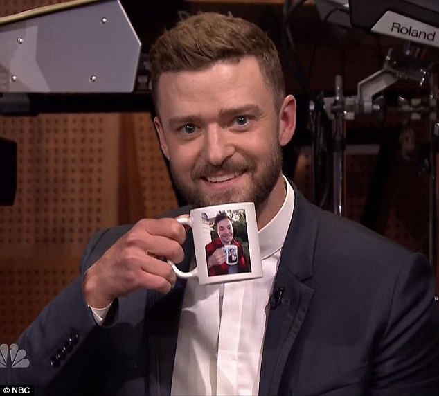You've taken it too far: On the show Justin produced his own mug showing Jimmy with his mug of Justin holding his mug featuring his friend's mug