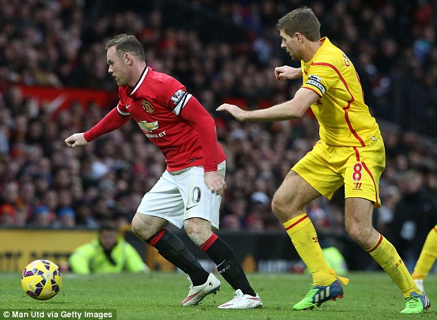 Rooney (left), who scored United's first goal, protects the ball from the attention of Gerrard (right)