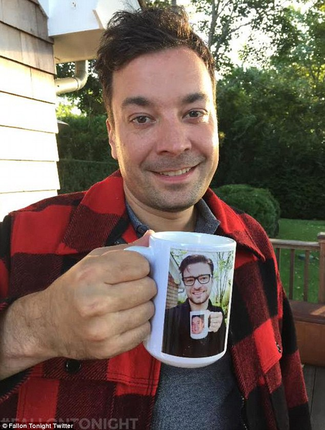The Inception mug: Jimmy took a picture of himself holding a mgug which contains a picture of Justin holding his mug embossed with Jimmy's mug