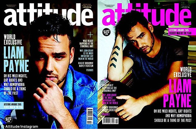 'Can't wait for you all to see the shoot!': Liam Payne smoulders on the front cover of Attitude magazine just days after he was forced to deny accusations that he was homophobic