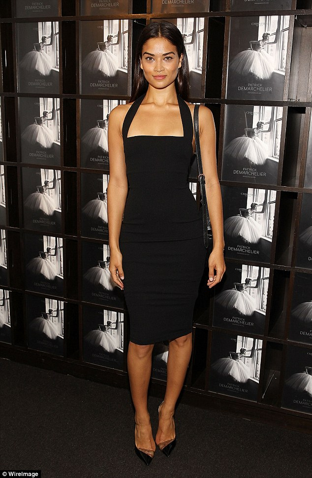 Natural beauty: Shanina Shaik, 24, looked effortlessly chic and stylish as she joined her fellow fashionistas at an exclusive preview  for an exhibit of photographer Patrick Demarchelier's work
