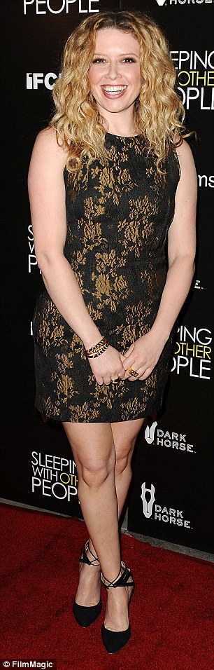 Supporting cast: Amanda Peet, 43, left,wore a scoop-necked burgundy frock embellished with sequins and with an embroidered waist, while  Natasha Lyonne, right, wore a black and gold sleeveless  mini dress