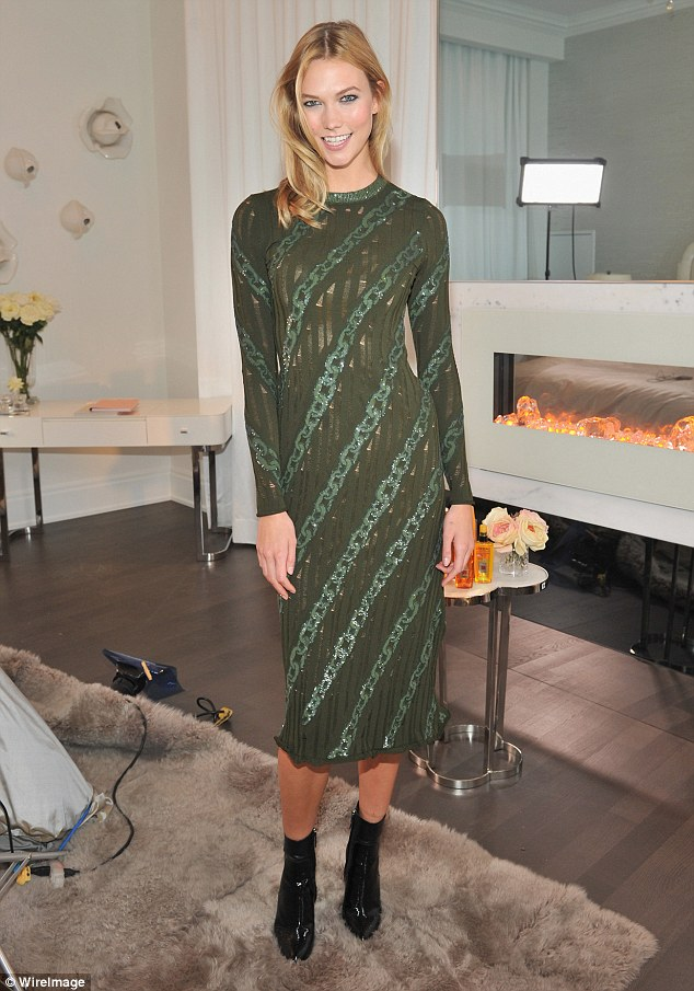 Blonde beauty:Karlie Kloss, 23, was back to her glamorous day-job as she kicked off the Toronto International Film Festival by hosting a L'Oreal Paris VIP cocktail reception on Wednesday