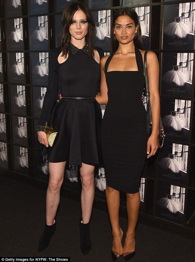Striking a pose: Shanina pictured with fellow model Coco Rocha at the exclusive event in New York