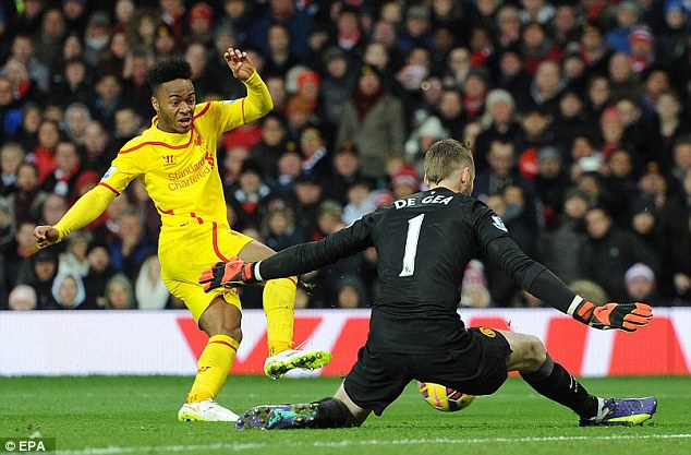 Raheem Sterling (left) was repeatedly denied by the excellent performance of David de Gea (right)