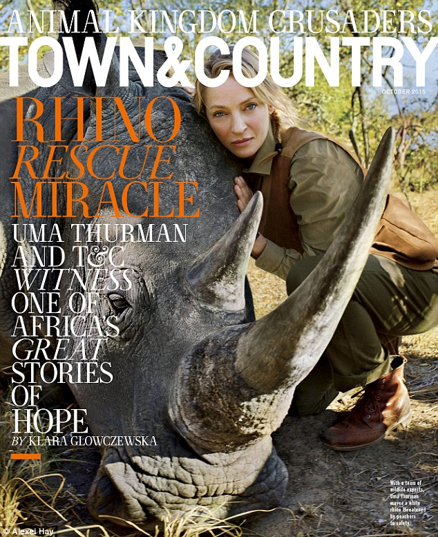 Cover for a cause: Uma Thurman will be featured on the October cover of Town & Country