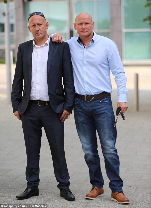 Troy Austin (left, with his brother Terry Bolwell) the estranged father of One Direction star Louis Tomlinson, outside Doncaster Magistrates Court, where Austin appeared charged with failing to provide a breath test while being in charge of a car