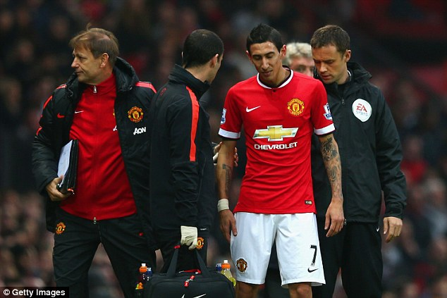 Angel di Maria will miss Man United's match against Liverpool due to an injury he sustained against Hull