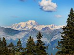 EYD8N4 French Alps and Mont Blanc (Monte Bianco) from Le Semnoz or Crêt de Chatillon in the Rhone Alpes France