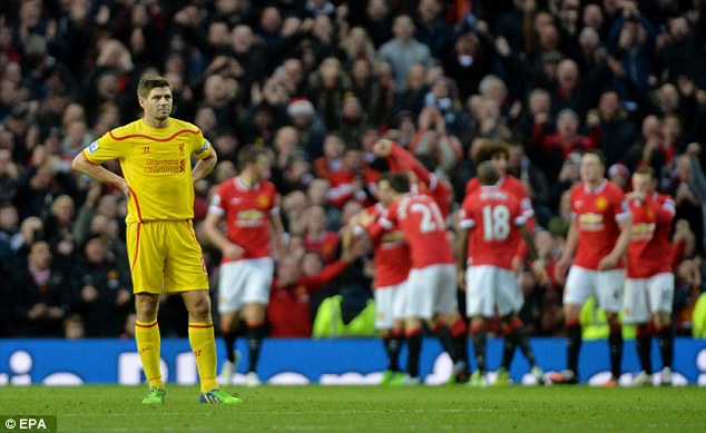 Gerrard (left) looks on as  United's players celebrate Robin van Persie's goal to make it 3-0 to the home side