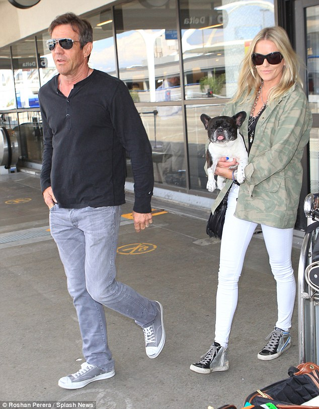Flying with fido! Dennis Quaid was spotted with his wife Kimberly Buffington at LAX on Wednesday, shortly after catching a flight with their charming french bulldog