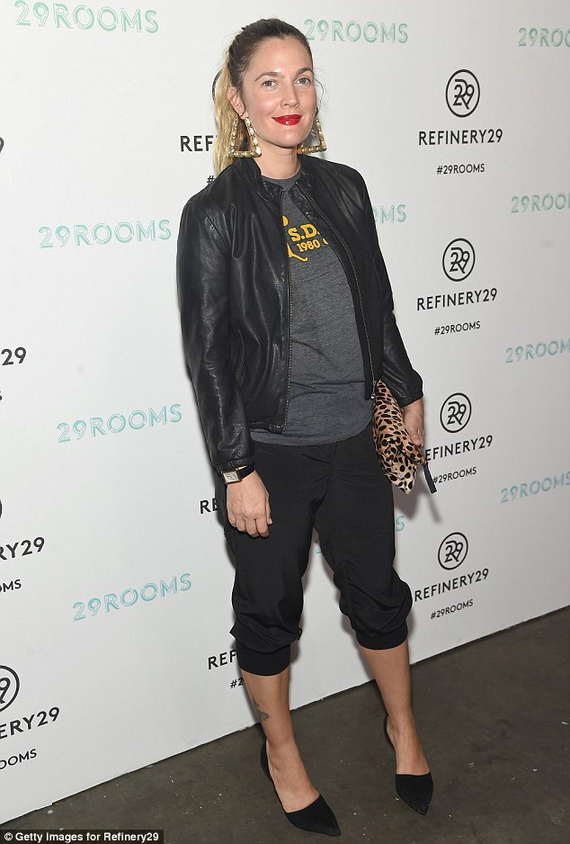 Ready to rock: Drew Barrymore displayed her eclectic style in knee breeches and a bomber jacket while hosting the Refinery29 '29 Rooms' bash to celebrate New York Fashion Week on Thursday