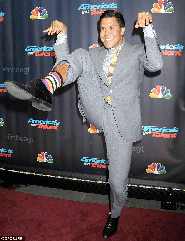 Acting the goat: Fredrik Eklund plays up to the cameras as he arrives at the party