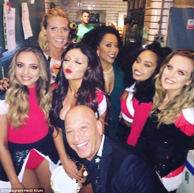Group shot: Heidi took to Instagram to share a picture of herself and Mel with Little Mix on Wednesday