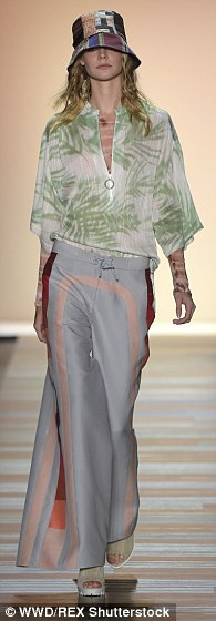 Walking to the sounds of the Rolling Stones, models wore layers of colorful textures -- from tie-dye cotton and soft knits to floaty chiffon and soft lace -- an ode to the 'Canyon Girl'