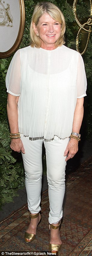 Busy girl: As well as attending the show Martha paid a visit to theJessica Simpson Collection 10th anniversary celebration
