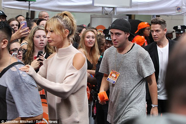 Number one fan: While the plaza was packed with diehard fans, there was one special supporter in the audience - rumoured love interest Hailey Baldwin