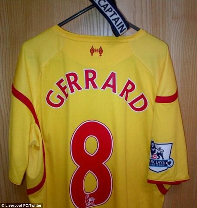 Liverpool tweeted the above image of Steven Gerrard's shirt and armband before the game kicked off