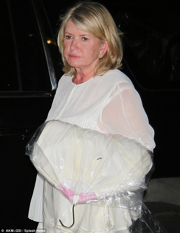 In need of a coffee: Martha looked tired out when she arrived ahead of her hilarious appearance