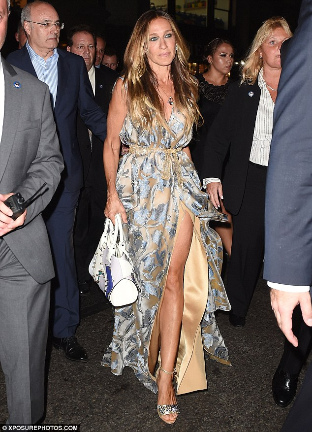 Pins on parade:Sarah Jessica Parker looked incredible as she attended the opening of the new Porcelanosa showroom in partnership with Madison Square Park Conservancy's fall fundraising gala on Wednesday night
