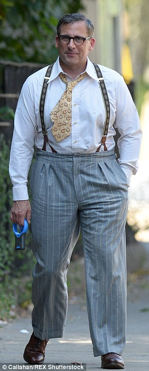Pounds or padding? The 53-year-old Oscar nominee - wearing a vintage grey pin-stripe suit and ultra-short necktie - appeared to have put on a few pounds (pictured Wednesday and 2013)