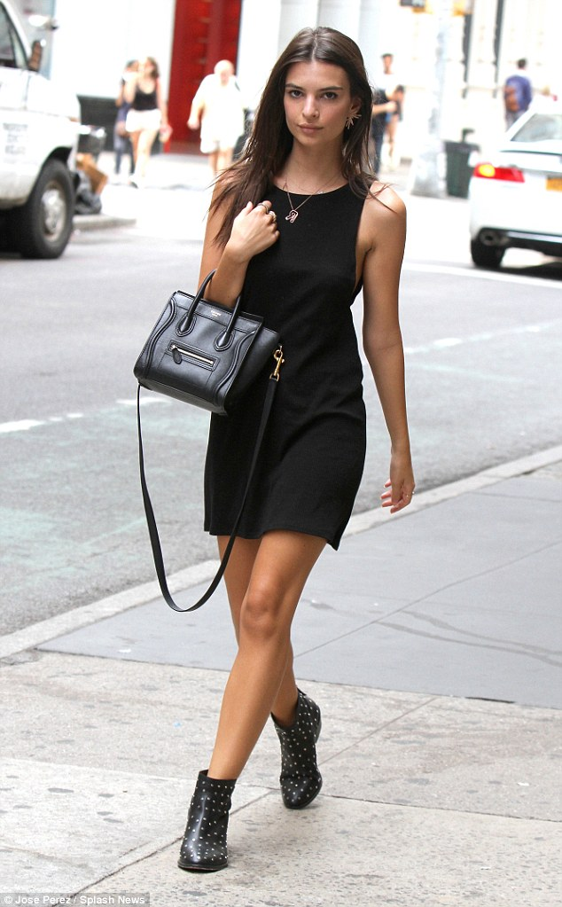 LBD: Emily was spotted on earlier that afternoon stroll in Manhattan, cutting a svelte figure in a sleeveless design after dining with a friend at Dos Caminos Restaurant