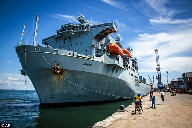 Salute: She had been due to attend an event to mark the completion of Operation Gritlock - the UK's response to the Ebola crisis which involved deploying hospital ship RFA Argus to Sierra Leone's capital Freetown