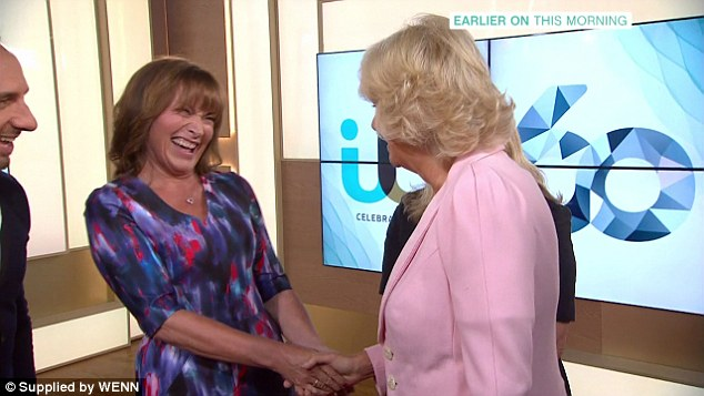 All smiles: She became slightly starstruck after being introduced to the 'very famous' Lorraine Kelly