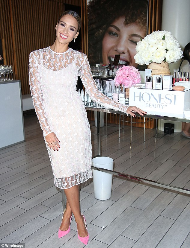 Billion dollar smile: Jessica Alba launched her new line of Honest Beauty products in New York City on Wednesday
