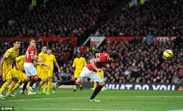 Juan Mata heads in United's second goal on the far post as United began to pile on the pressure