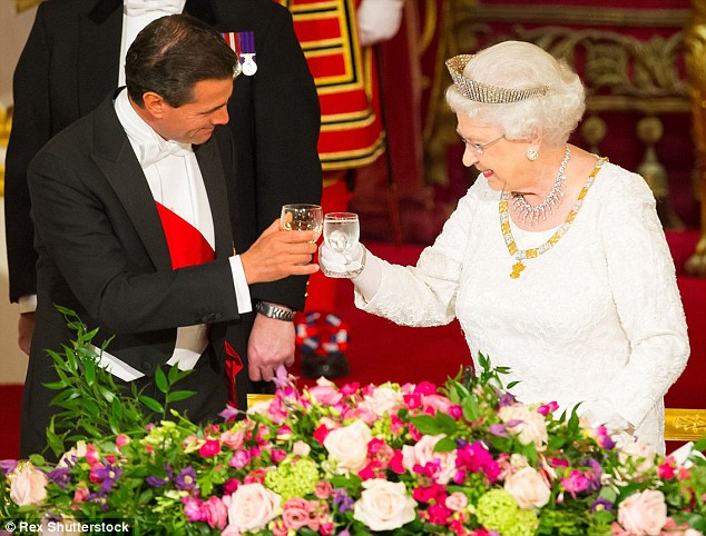 The Queen toastsPresident of Mexico Enrique Pena Nieto during a state banquet at Buckingham Palace