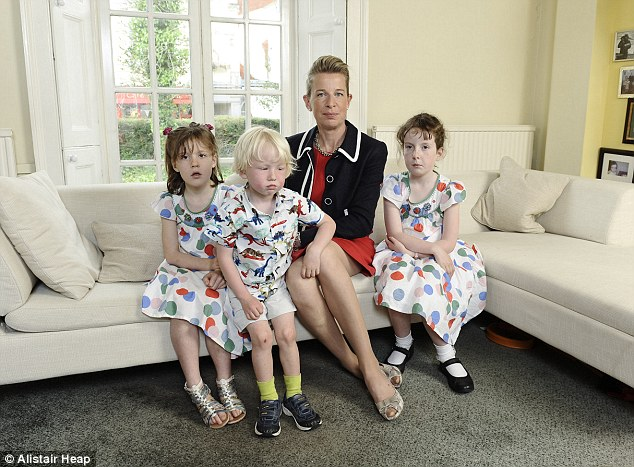 The TV star pictured with her three children, who she gave birth to naturally without any pain relief