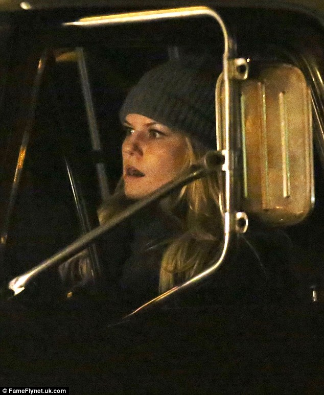 Challenging day: The blonde beauty also showed her range as an actress as she displayed a wide array of facial expressions while filming the driving scene