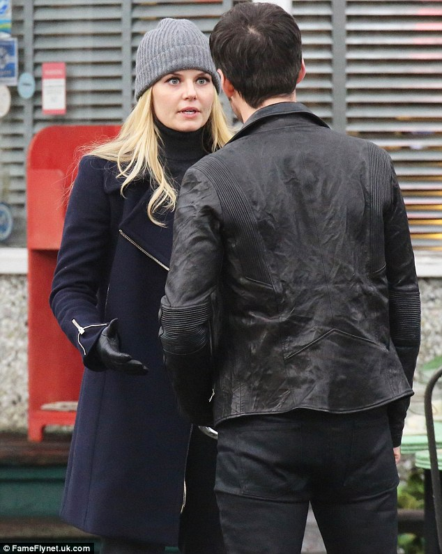 Heated exchange? Jennifer was earlier seen in a tense confrontation with co-star Colin O'Donoghue while filming
