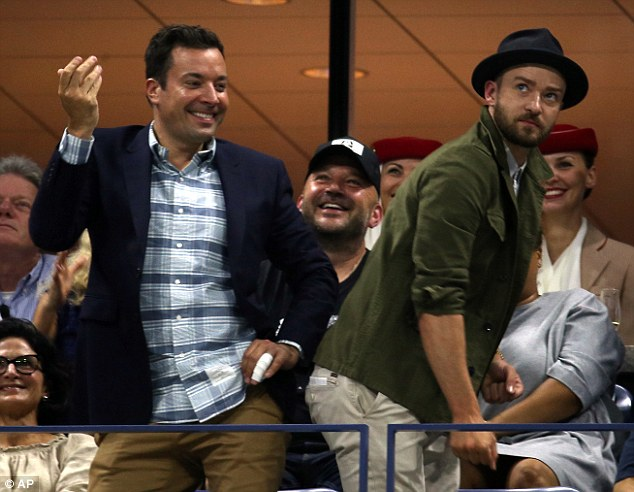 Different costumes: As they were at a tennis match, Justin and Jimmy wore button-down shirts with jackets and trousers