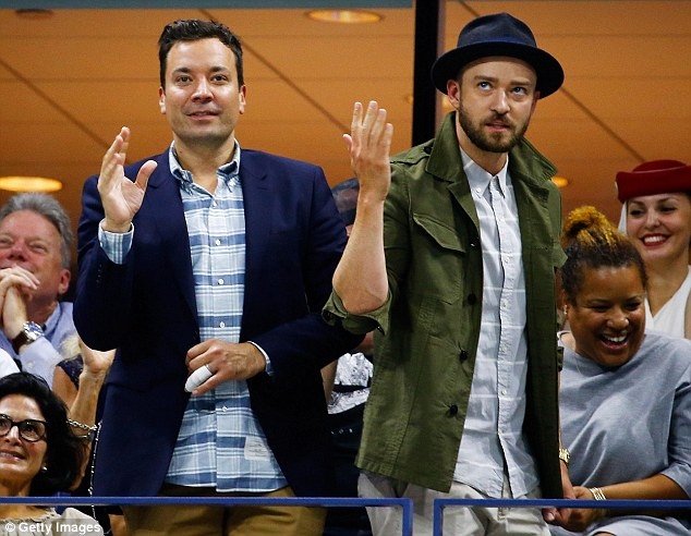 Dancing fools: Jimmy Fallon (left) and Justin Timberlake (right) danced during the U.S. Open in Queens, New York on Wednesday