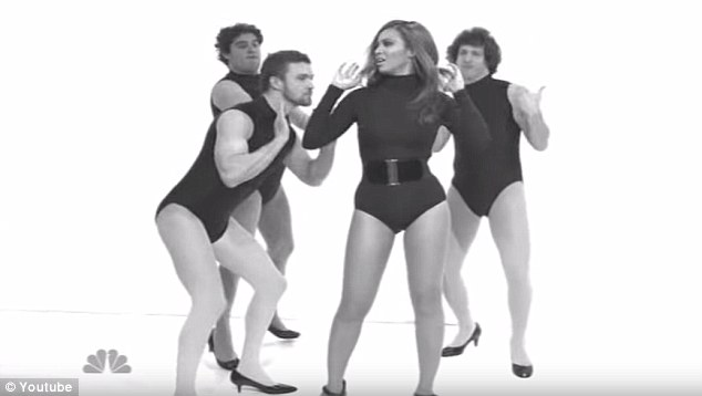 Not quite the same: Instead of her professional women, Beyonce had three silly men as backup dancers