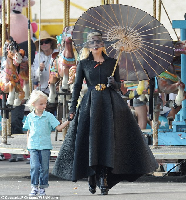 Scene partner: Gaga held onto a blond boy's hand for one scene. She was also reported to be filming with co-star Wes Bentley (not pictured)