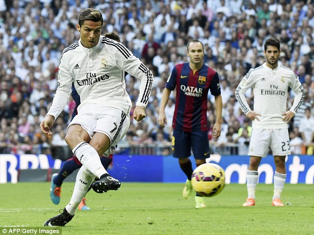 Ronaldo scores a penalty against Barcelona in El Clasico in October at the Bernabeu