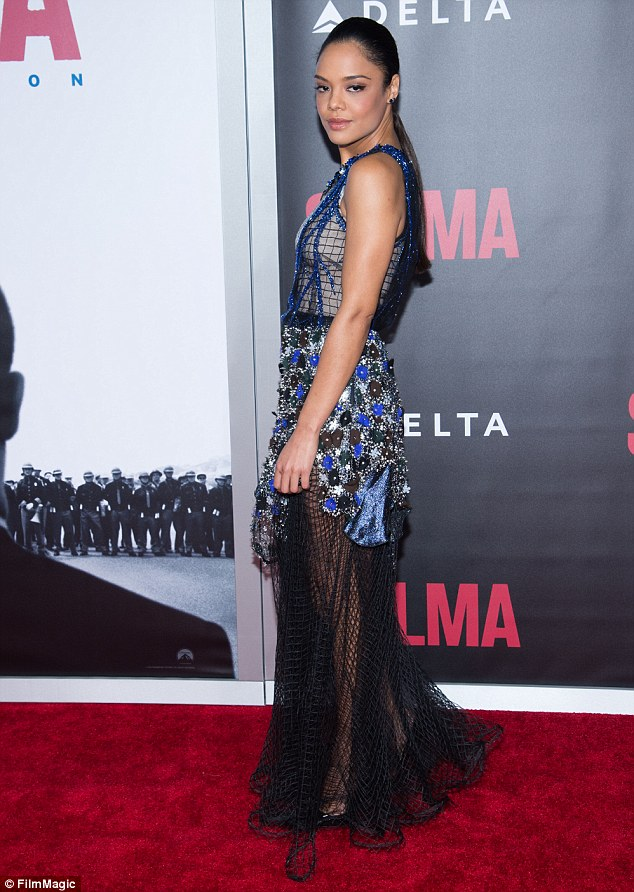 Fashion risk: Tessa Thompson, who plays civil rights activist Diane Nash, stunned in a very eclectic dress featuring a  fishnet skirt